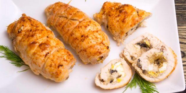 Рецепты курицы в духовке: Куриные рулетики с грибами и яйцами