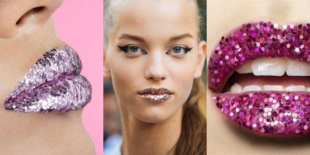 Новогодний макияж: глиттеры на губах