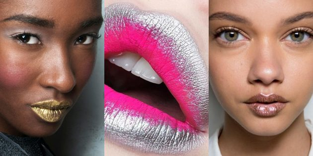 Новогодний макияж: губы цвета металлик