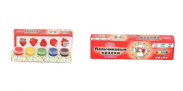 100новогодних подарков: Пальчиковые краски с трафаретом
