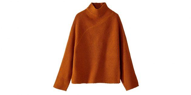 Пуловер крупной вязки с высоким воротником