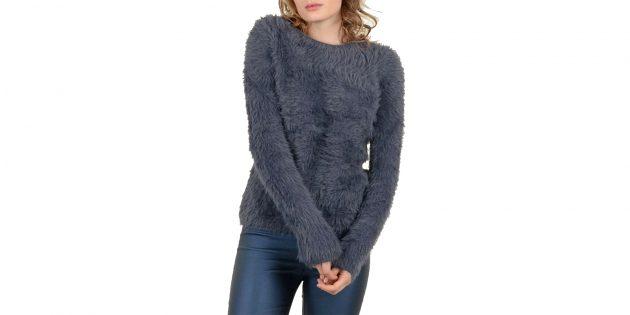Пуловер ворсистый с длинными рукавами