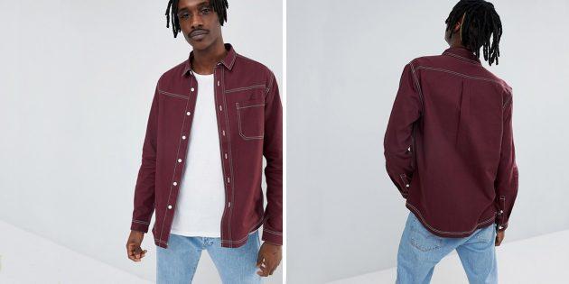 Бордовая рубашка Asos Design