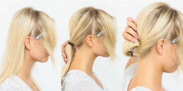 Причёски на Новый год: низкий пучок в профиль