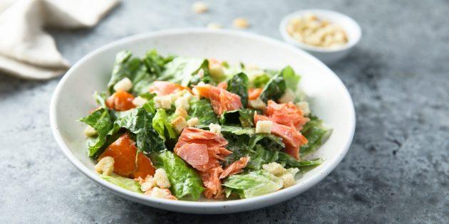 Рецепты: салат с сухариками, сёмгой, стручковой фасолью и помидорами
