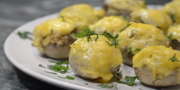 Как приготовить фаршированные шампиньоны в духовке: Шампиньоны, фаршированные яйцами