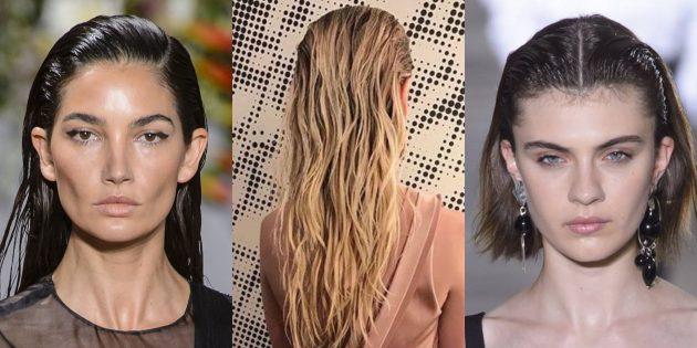 Причёски на Новый год: укладка с эффектом влажных волос