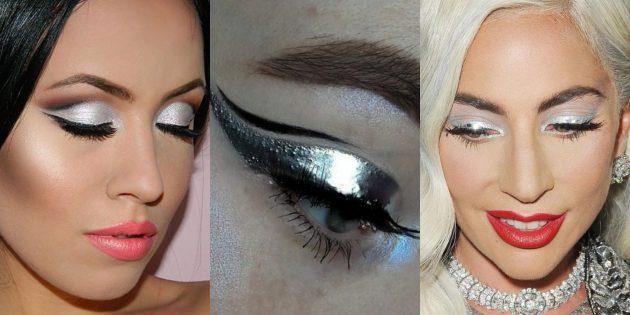 Новогодний макияж: зеркальные тени