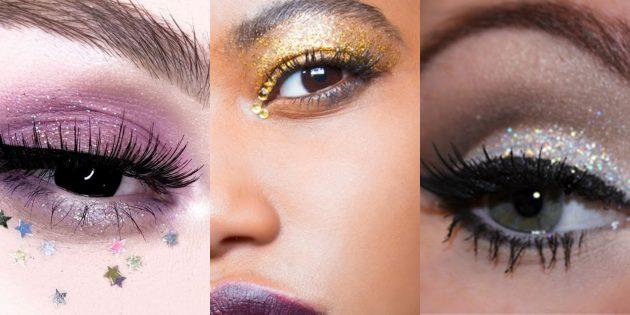 Новогодний макияж: тени с эффектом звёздного мерцания