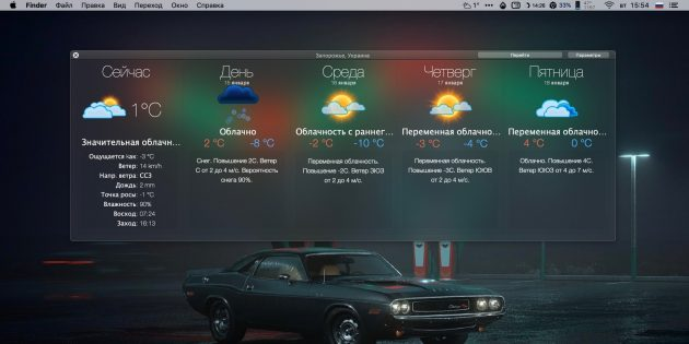 Прогноз погоды на сутки: Weather Widget Desktop