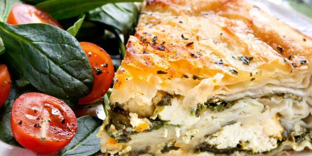 Рецепты ужина на скорую руку: пирог со шпинатом и сыром фета