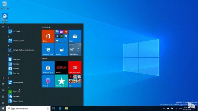 Весеннее обновление версии Windows 10: bзменения в меню «Пуск»