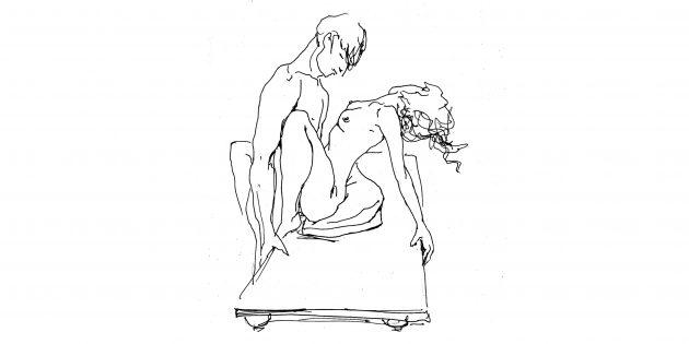 Поза «Стоя» (если боль в спине у мужчины)