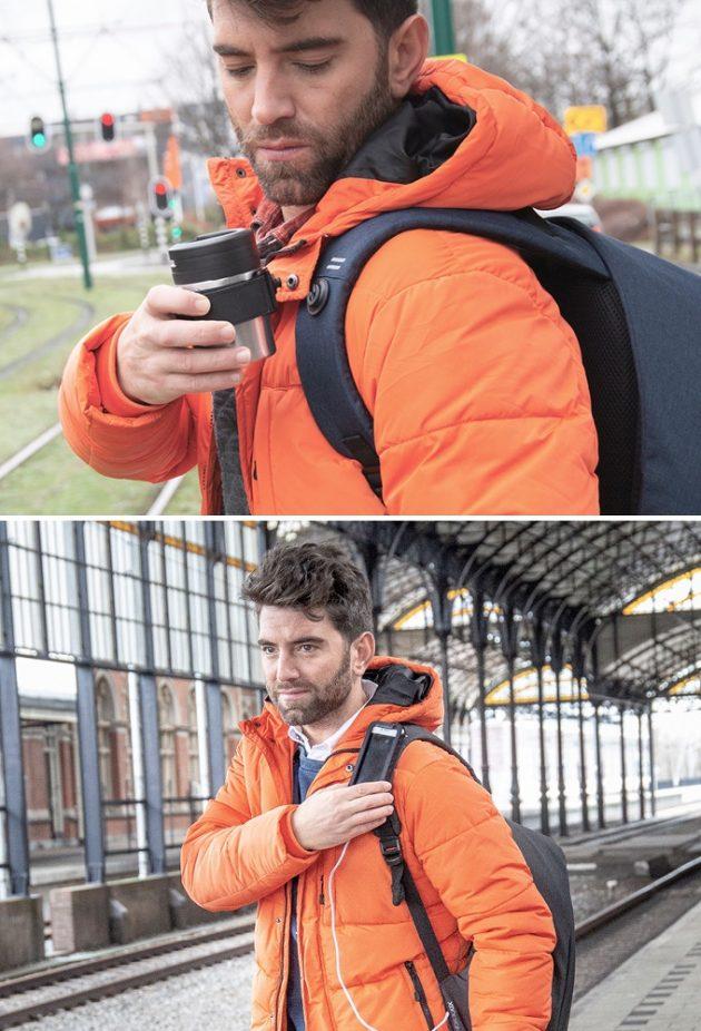 Новый рюкзак Bobby: крепёж на лямке для кружки и смартфона