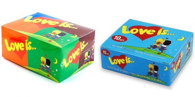 Что подарить девушке на 14февраля: блок жвачки Love is...