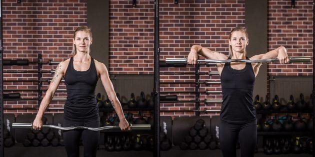 Упражнения на спину: Тяга штанги к подбородку