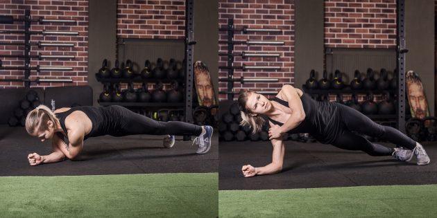 Упражнения на плечи: выход в боковую планку на предплечье