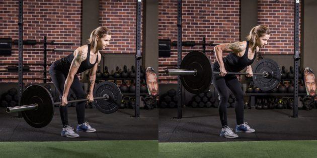 Лучшие упражнения для спины: Тяга штанги в наклоне