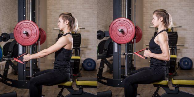 Лучшие упражнения для спины: Тяга нижнего блока к животу