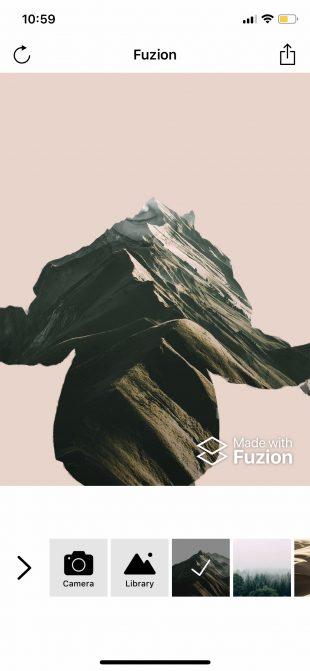 Фоторедактор лица Fuzion для iOS: выбор фона