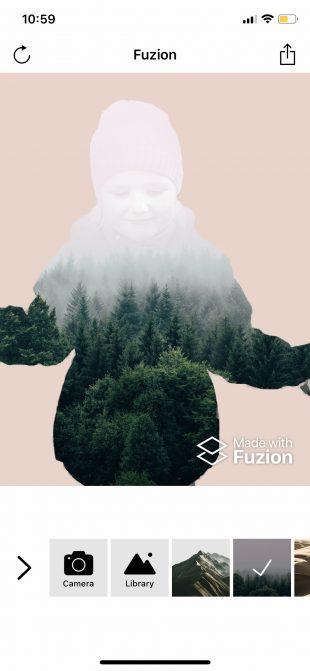 Фоторедактор лица Fuzion для iOS: совмещение изображений