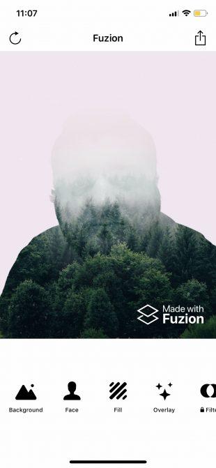 Фоторедактор лица Fuzion для iOS: обрезка фона