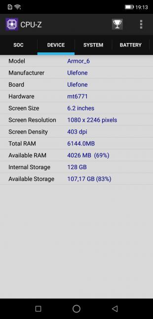 Ulefone Armor 6: CPU-Z