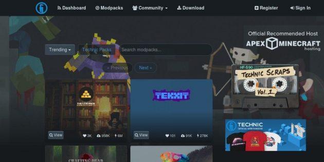 Где скачать моды для Minecraft: TechnicPlatform