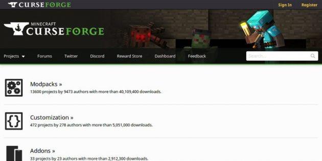 Где скачать моды для Minecraft: CurseForge