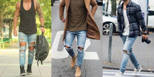 Мужская мода 2019: Рваный потёртый деним