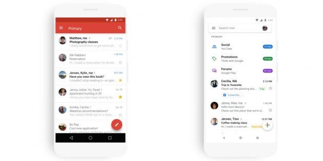 мобильная версия Gmail: Обновлённый дизайн
