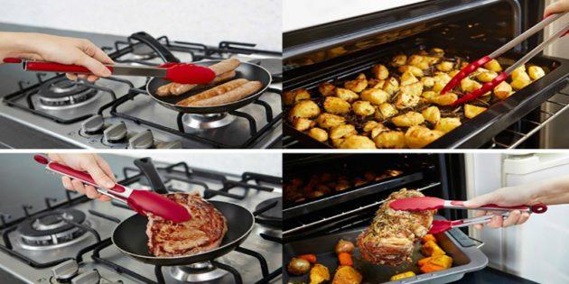 Кухонные щипцы из стали и силикона