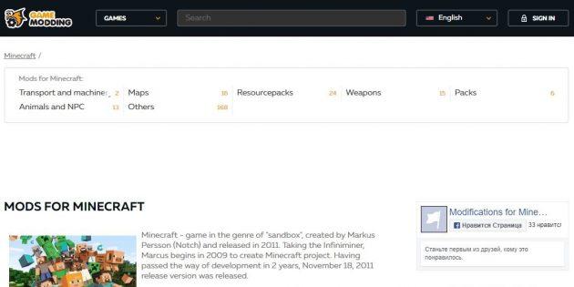 Где скачать моды для Minecraft: GameModding.com