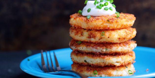 Рецепты: Картофельные оладьи с сыром