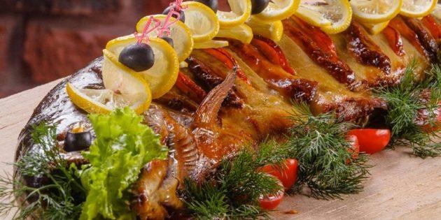 Вкусные блюда из судака: Судак, запечённый с овощами