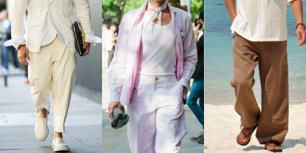 Мужская мода 2019: Широкие светлые льняные штаны
