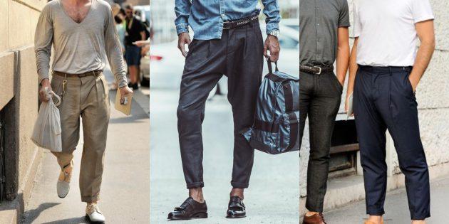 Мужская мода 2019: Брюки с защипами