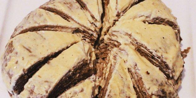 Торт из говяжьей печени с чесноком