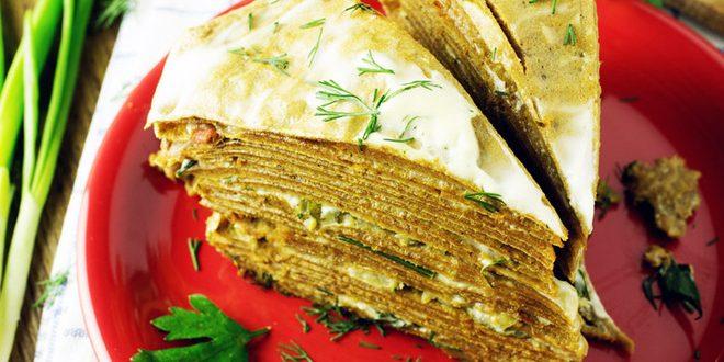 Блинный торт с печенью трески