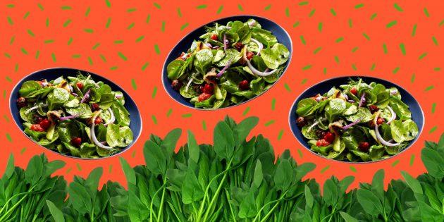Вкусные салаты со шпинатом