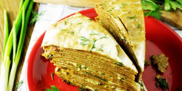 Лучшие рецепты печёночных тортов: Блинный торт с печенью трески