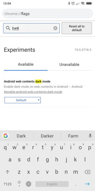 ночной режим в Chrome: Android web contents dark mode