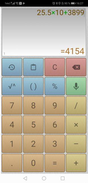 Калькулятор для Android: 25,5×10+3899