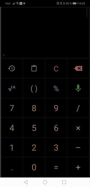 Калькулятор для Android: Тёмная тема
