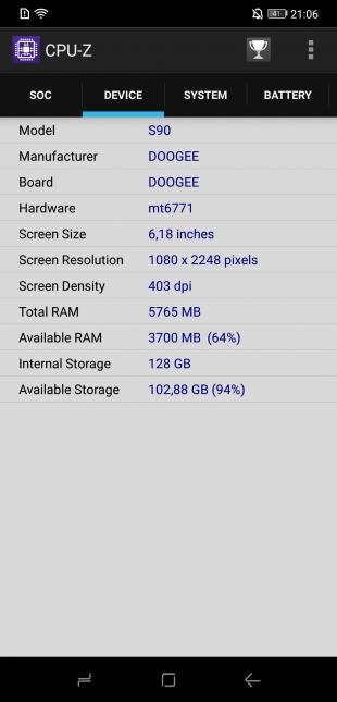 Doogee S90: CPU-Z (Device)