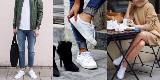 Модные кроссовки: Олдскульные белые