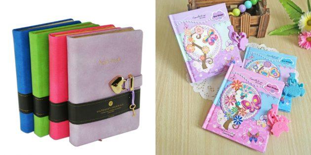 Подарки девочкам на 8Марта: блокнот с замком