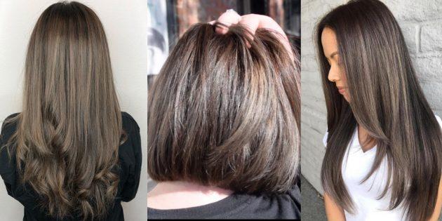 Модные цвета волос 2019года: холодный коричневый