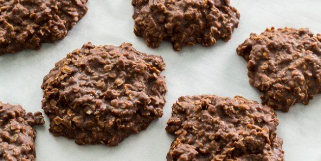 Шоколадно-овсяное печенье с арахисовой пастой без выпечки