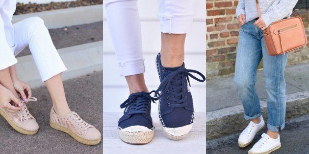 Модные кроссовки: Гибрид с эспадрильями